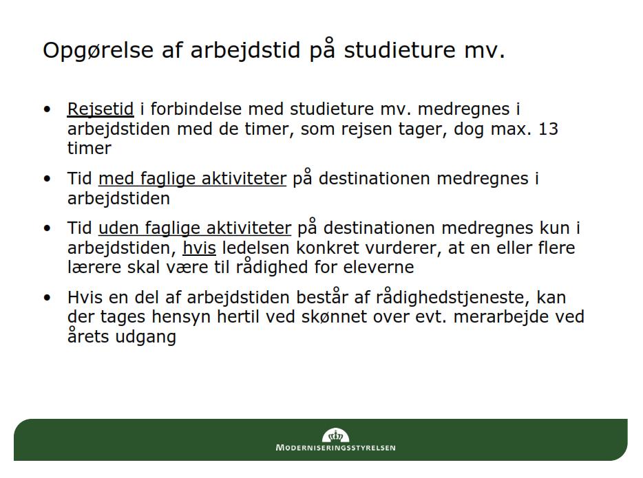 Rejsetid studieturer slides fra MOD